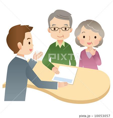 かわいいシニア夫婦とビジネスマン 説明 相談 事務所のイラスト素材