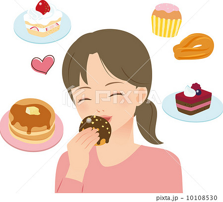 甘いものを食べる女性のイラスト...
