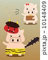 カレンダー用イラスト素材 2月 豚 縦長 10148409