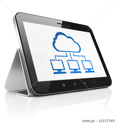 Cloud technology concept: Cloud Network on tablet pc computerのイラスト素材 [10157565] - PIXTA