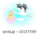 ベクター コウノトリ 赤ちゃんのイラスト 10157599