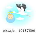 ベクター コウノトリ 赤ちゃんのイラスト 10157600