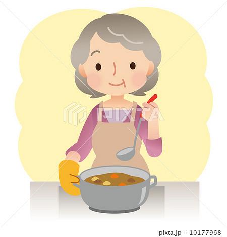 料理をする女性 高齢者のイラスト素材 10177968 Pixta