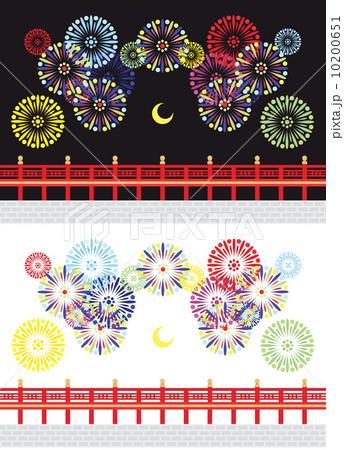 打ち上げ花火と橋と月イラストカットデザインイメージ素材(黒背景白背景セット) 10200651