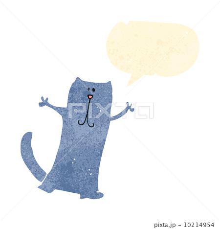 retro cartoon happy cat with speech bubbleのイラスト素材 [10214954] - PIXTA