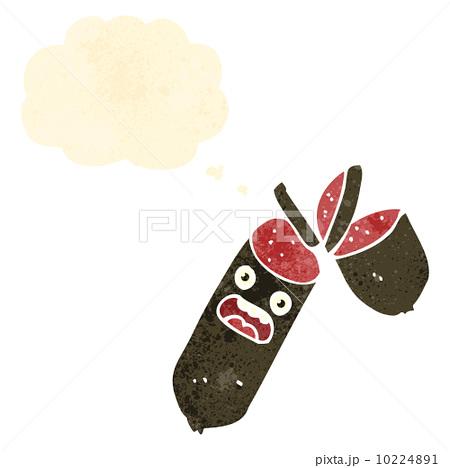 retro cartoon sliced sausage cartoon characterのイラスト素材 [10224891] - PIXTA