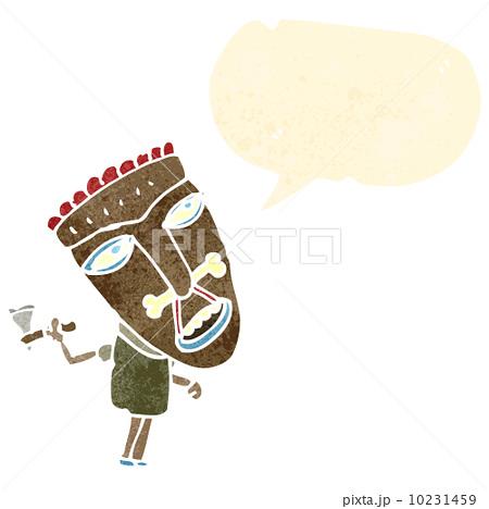 cartoon canibal shaman with speech bubbleのイラスト素材 [10231459] - PIXTA