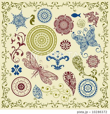 vector summer vintage floral bright design elementsのイラスト素材