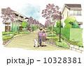 町並み 散歩 コミュニケーションのイラスト 10328381