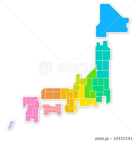 日本 日本地図 略図 : カラフルな日本地図のイラスト ...