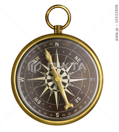 golden or brass old nautical compass illustration 10332606