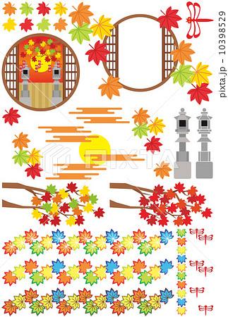 秋用和風イラストカットデザインイメージ素材集(楓・灯篭・赤蜻蛉・和風丸窓枠) 10398529