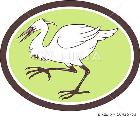 egret heron crane walking cartoonのイラスト素材 10426753 pixta