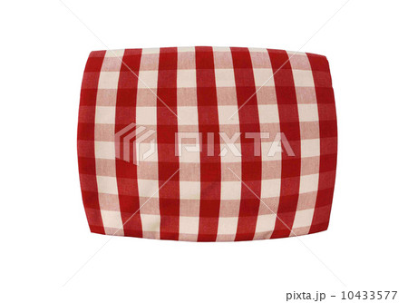 Red plaid pillow isolated on whiteの写真素材 [10433577] - PIXTA
