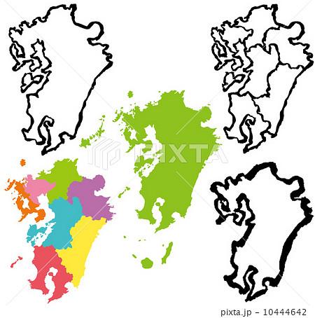 九州 地図 手書き 筆絵 10444642