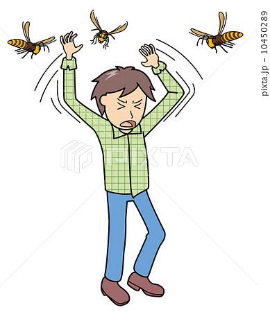 イラスト素材: スズメ蜂×なこと_手で払う