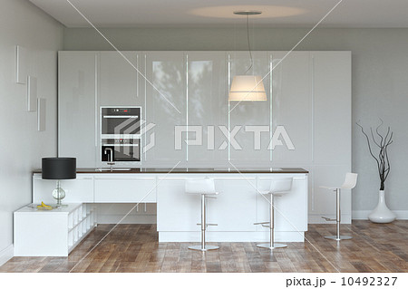 White Luxury Hi-Tech Kitchen With Bar のイラスト素材 [10492327] - PIXTA