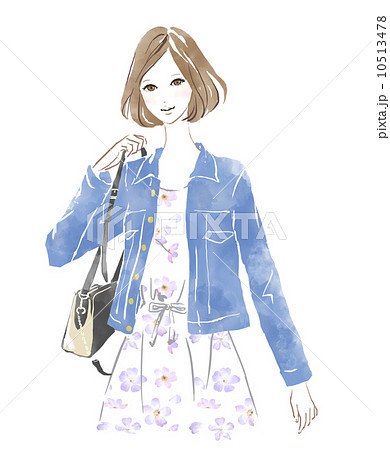 お洒落な女性のイラスト素材 10513478 Pixta