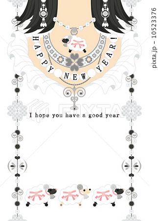 """2015年未年完成年賀状テンプレート(シルバーアクセサリー)HAPPYNEWYEAR!""""I hope you have a good year"""" 10523376"""
