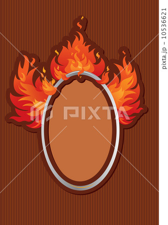 Oval frame with spurts of flame on stripe dark background 10536621