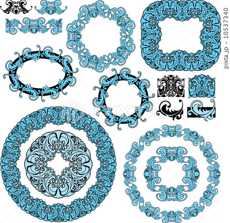 set of round and oval frames and vintage design elementsのイラスト