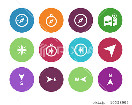 Compass circle icons on white background. 10538992