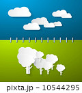 Paper Clouds and Trees on Blue - Green Notebook Background 10544295