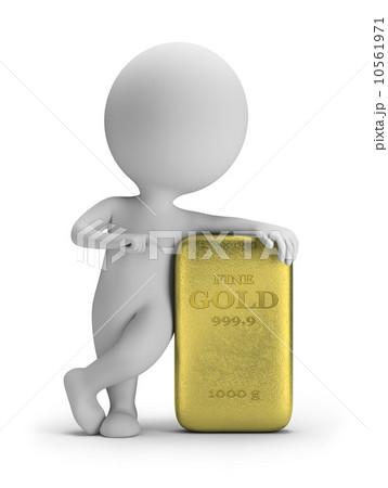 3d small people - gold ingot 10561971