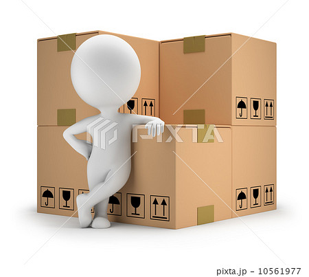 3d small people - delivery goods 10561977