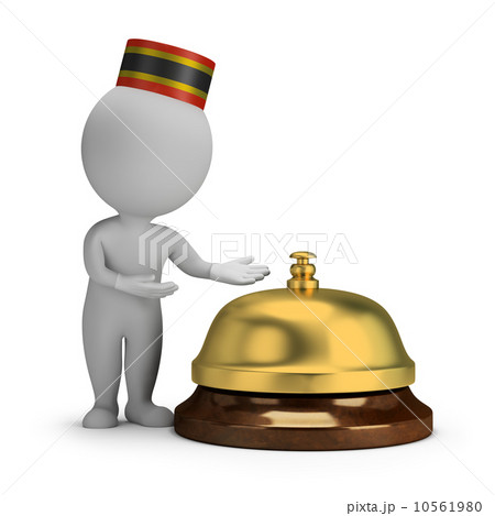 3d small people - bellboy and service bell 10561980