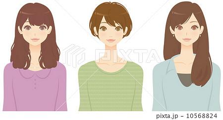 いろいろな髪型の女性