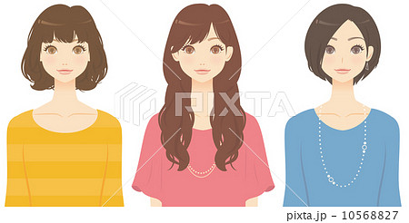いろいろな髪型の女性のイラスト素材 [10568827] , PIXTA