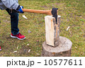 斧 切り株 木目の写真 10577611