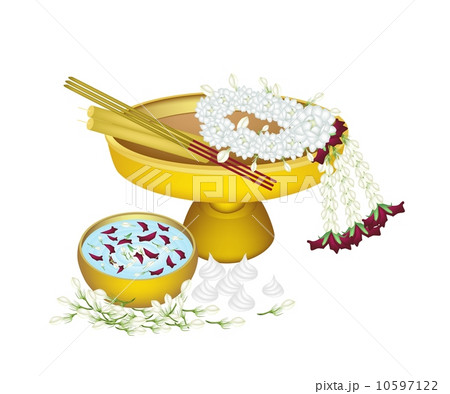 Jasmine Wreath with Water Bowl for Songkran Festivalのイラスト素材 [10597122] - PIXTA