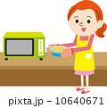 主婦 電子レンジ 女性のイラスト 10640671
