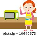 主婦 電子レンジ 女性のイラスト 10640673