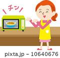 主婦 電子レンジ 笑顔のイラスト 10640676