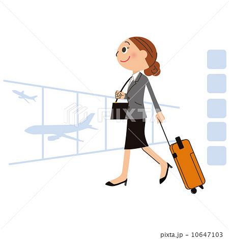 海外出張する女性のイラスト素材...