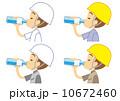 水分補給 ヘルメットをかぶった作業員 10672460