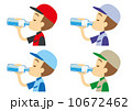 水分補給 帽子をかぶった作業員 10672462