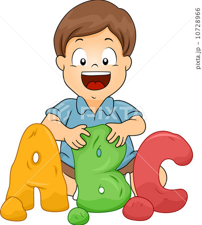 little boy molding abc letters from clayのイラスト素材 10728966