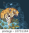 Tropical Exotic Floral Background with Tiger 10731164
