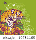 Tropical Exotic Floral Background with Tiger 10731165