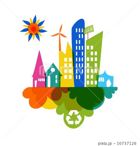 Go green colorful city recycle iconのイラスト素材 [10737126] - PIXTA