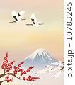 富士山に梅と飛翔鶴 10783245