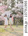 桜の木の下で春を楽しむ若い2人の女性 10791966