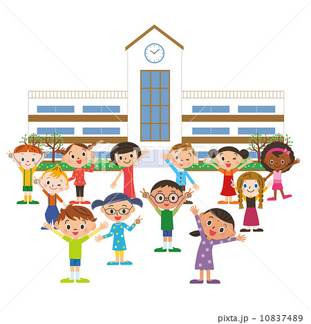 学校に通う子供達 10837489