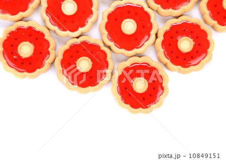 Lot of strawberry biscuits.の写真素材 [10849151] - PIXTA