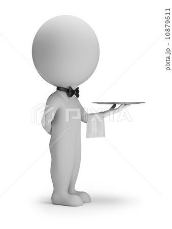 3d small people - waiter with tray 10879611