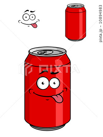 red soda can with a goofy comical lookのイラスト素材 10894983 pixta